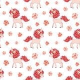 Valentine seamless pattern with cute unicorns. Vector illustration isolated on a white background.