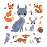 Cute forest animals in cartoon style. Childhood illustration isolated on a white background. Vector set.