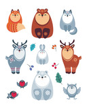 Cute animals in ethnic style. Christmas illustration isolated on a white background. Vector set.