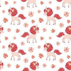 Valentine seamless pattern with cute unicorns. Vector illustration isolated on a white background. © olga_a_belova