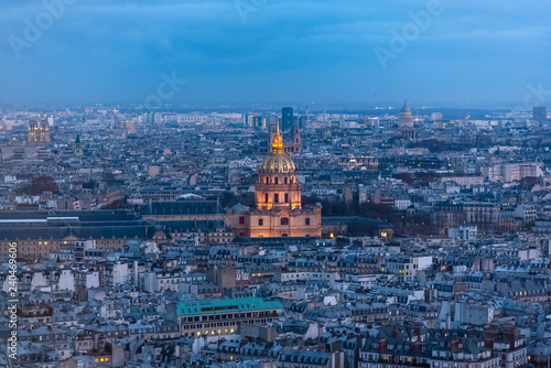 obraz PCV Paris by night, the Invalides dome and typical roofs, aerial view from the Eiffel tower