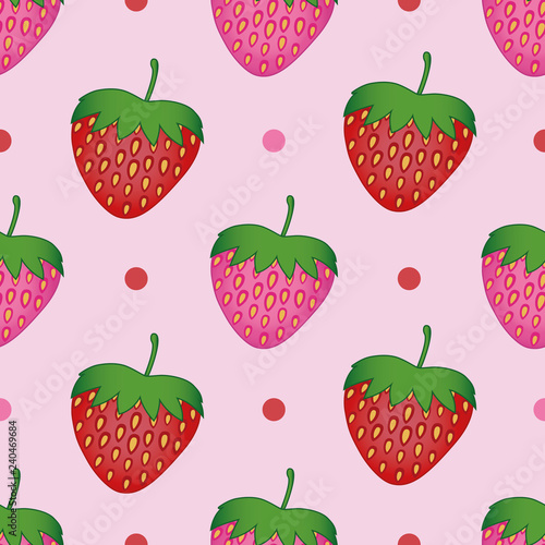 obraz PCV Seamless decorative strawberries pattern on a light pink background with dots. A realistic vector art. Design for fabric, baby and kid fabric, textile, background, poster, wrapping paper, wallpaper.