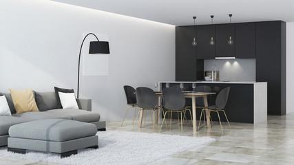 Modern house interior. Black kitchen. 3D rendering. © artemp1