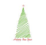 Pencil drawn christmas tree. Vector. Greeting card for the holiday new year. Empty space for text or advertising