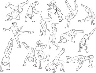 breakdancers outlines isolated on white