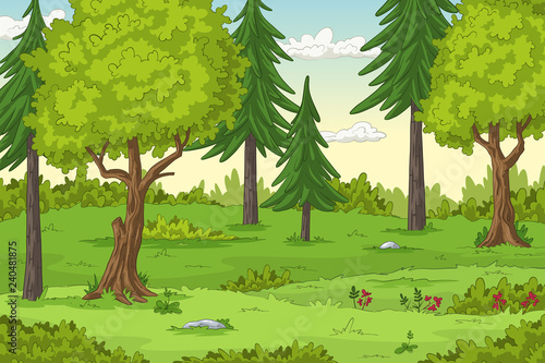 Forest landscape with trees, hand draw illustration