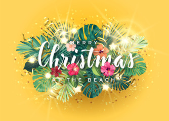 Tropical Christmas on the beach design with monstera palm leaves, hibiscus flowers, gold glowing stars and light bulbs, vector illustration.