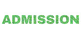 Vector dot Admission text isolated on a white background. Admission mosaic title of circle dots in various sizes.