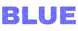 Vector dot Blue text isolated on a white background. Blue mosaic name of circle dots in various sizes.
