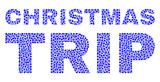 Dot vector Christmas Trip text isolated on a white background. Christmas Trip mosaic label of circle dots in various sizes.