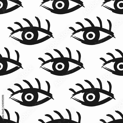 Repeated open eyes with eyelashes drawn by hand with a rough brush. Seamless pattern. Sketch, grunge, watercolor, graffiti, paint. - 240492898