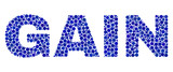 Dot vector Gain text isolated on a white background. Gain mosaic name of circle dots in various sizes.
