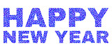 Vector dot Happy New Year text isolated on a white background. Happy New Year mosaic tag of circle dots in various sizes.