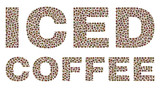 Dot vector Iced Coffee text isolated on a white background. Iced Coffee mosaic label of circle dots in various sizes.