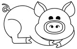 Funny cartoon pig figure. Educational activity for children. Printable coloring page for kids.