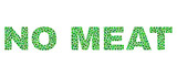 Vector dot No Meat text isolated on a white background. No Meat mosaic tag of circle dots in various sizes.