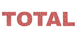 Dot vector Total text isolated on a white background. Total mosaic label of circle dots in various sizes.