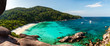 Leinwandbild Motiv Panorama of a beautiful tropical sandy beach and lush green foliage on a tropical island (Koh Similan)