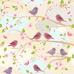 blossom of cherry with lovely birds. seamless background © Aloksa
