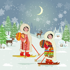 winter night forest landscape with skiing girls in traditional c © Aloksa