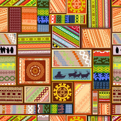 seamless texture with set of ethnic patterns of northern peoples © Aloksa