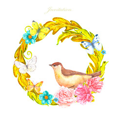 gold floral round ornament with bird on flowers for your design © Aloksa
