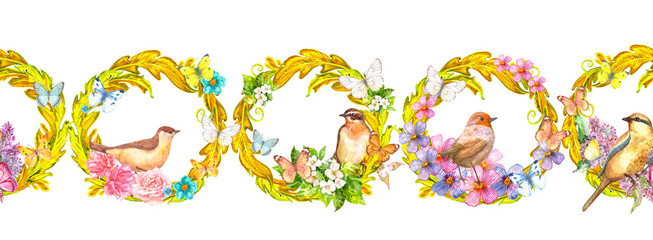 rich seamless border with gold arabesques and birds. watercolor painting © Aloksa