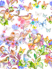 colorful fantasy in flowering garden with pretty birds. seamless texture. watercolor painting © Aloksa