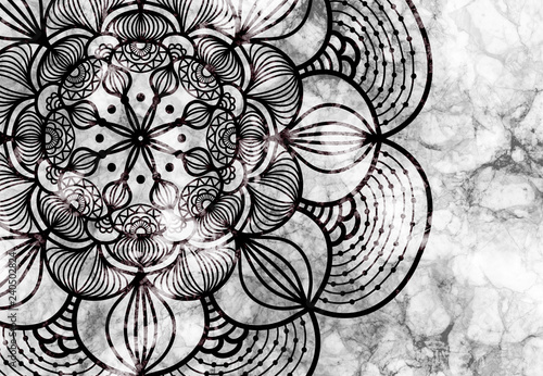 Abstract mandala graphic design and watercolor digital art painting for ancient geometric concept background - 240502824