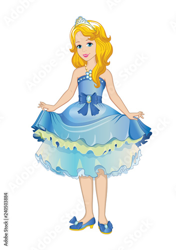 Beautiful princess in a ball gown. Children's illustration. Vector. - 240503884