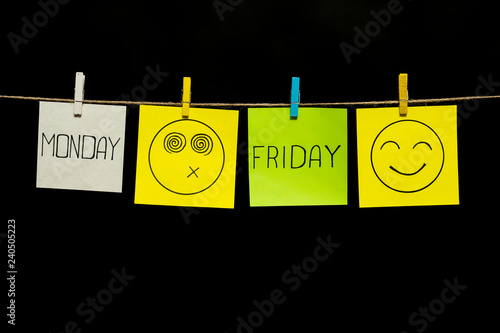 Copy space. Four sticker. Monday and friday. Smileys positive and negative. Beginning and end of the working week. Stickers attached to a rope clothespins.