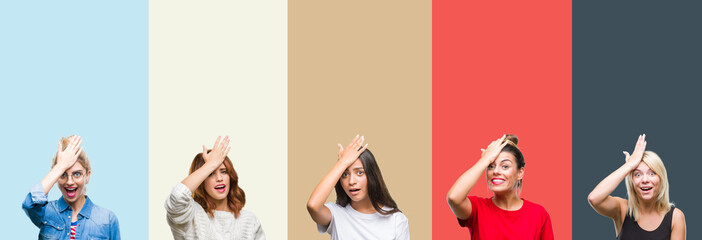 Collage of group of beautiful casual woman over vintage autumn colors isolated background surprised with hand on head for mistake, remember error. Forgot, bad memory concept.