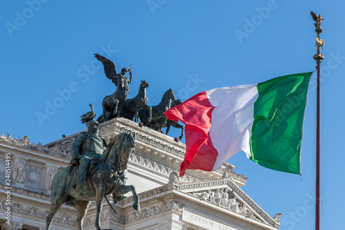 Italian flag waving at Altar of the Fatherland in Rome, Italy