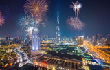 Fireworks display at town square of Dubai downtown