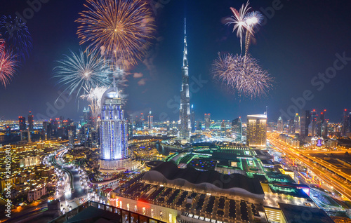 mata magnetyczna Fireworks display at town square of Dubai downtown