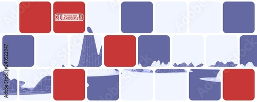 bright mosaic cubes of purple and red with polygonal mountains - 240522047