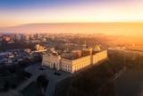 Lublin z lotu ptaka o poranku