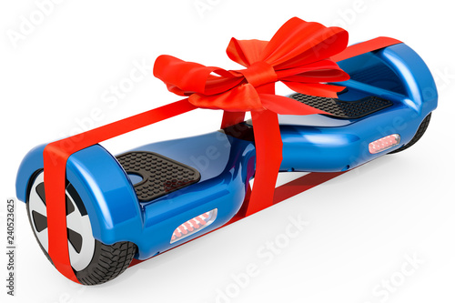 Self-balancing scooter with bow and ribbon, gift concept. 3D rendering
