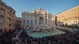 time lapse, sunset time, Trevi Fountain in Rome, Italy  - 240523816