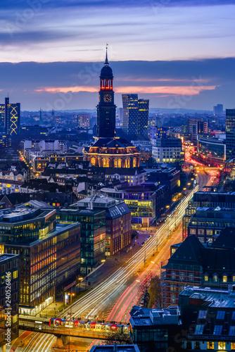 Aerial view of downtown Hamburg, Germany, at dusk. - 240526846