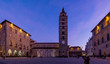 Leinwanddruck Bild - Beautiful view of the historic center of Pistoia at the blue hour, Tuscany, Italy