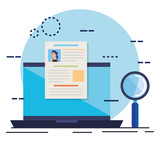 curriculum vitae in laptop with magnifying glass - 240532617