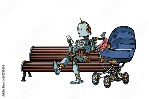 mom robot resting in the Park with a baby stroller. motherhood