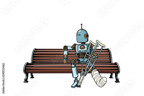 Robot with broken leg in plaster, rest in the Park