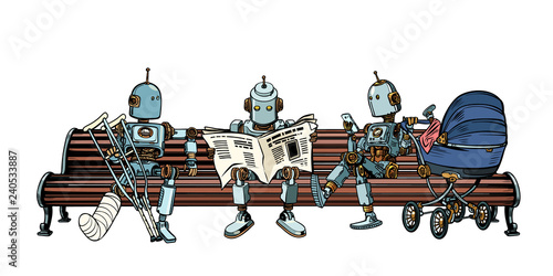Robots are resting on a park bench