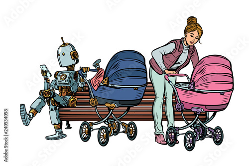 young mother and robot with a baby carriage, park bench
