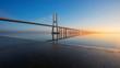 Leinwanddruck Bild - Long exposure of Vasco de Gama Bridge, Lisbon, Portugal