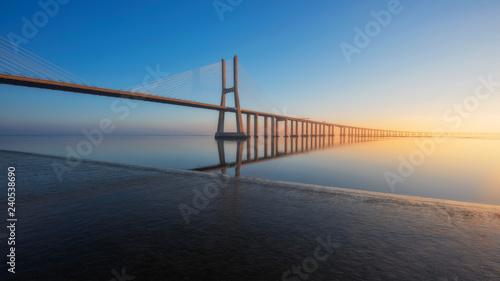 Leinwanddruck Bild Long exposure of Vasco de Gama Bridge, Lisbon, Portugal