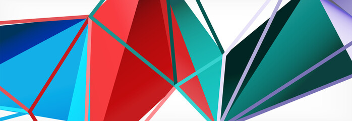 Vector colorful geometric triangle background, crystal banner design