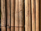 Bamboo fence texture background. Chopped and spread bamboo stalk for partition or fence.